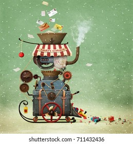 Conceptual illustration greeting  illustration or  postcard Christmas or New year with Santa's workshop bizarre industrial  car to create gifts.