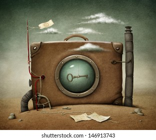 Conceptual illustration  lone suitcase in desert.