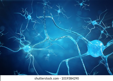 Conceptual illustration of neuron cells with glowing link knots. Synapse and Neuron cells sending electrical chemical signals. Neuron of Interconnected neurons with electrical pulses. 3D illustration