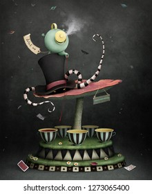 Conceptual illustration or poster with  magic carousel for  tea party, Wonderland.