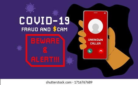 conceptual illustration of scammer and fraud alert  Covid-19 pandemic