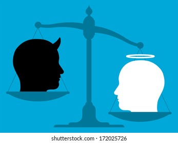 Conceptual illustration of the silhouette of an unbalanced vintage scale with the head of an angel and the devil on its pans showing a comparison of good over evil