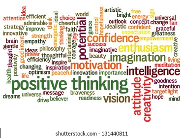 Conceptual illustration of tag cloud containing words related to creativity, positive thinking, confidence, enthusiasm, imagination, inspiration, potential, optimism... Also available as vector.