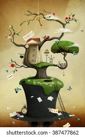 Conceptual illustration of tree with hat and fabulous and fancy objects