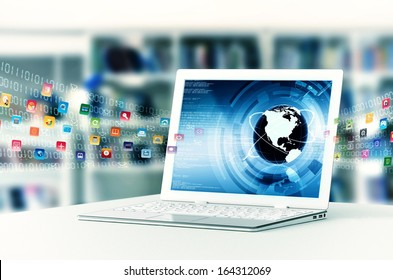 Conceptual image about how a laptop computer with internet open a virtual door to worldwide information sharing.