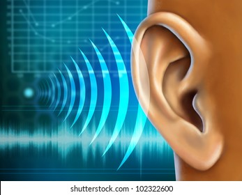 Conceptual image about human earing test. Digital illustration.