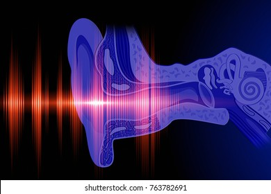 Conceptual image about human hearing