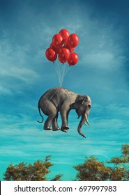 Conceptual image of an elephant flying red balloons tied. This is a 3d render illustration