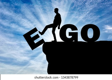 Conceptual image of the fight against egoism. Silhouette of a man gets rid of the ego as a bad habit.