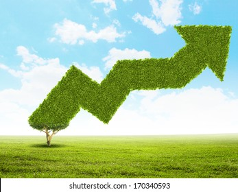 Conceptual image of green plant shaped liked graph