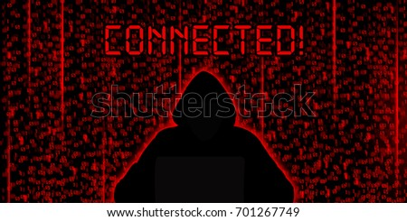 Conceptual image of hacker. Connected background & wallpaper.