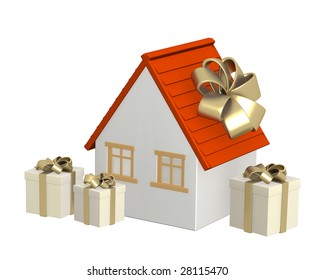 Conceptual image - the house in gift packing