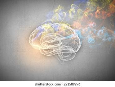 Conceptual image of human brain in smoke