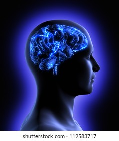 2072ec96 Conceptual image of a man from side profile showing brain and brain  activity.