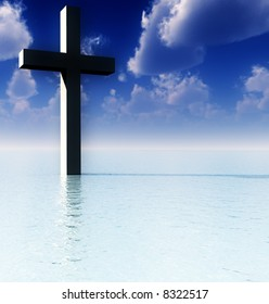 A conceptual image of the religious symbolic cross, in the water with a daytime background.