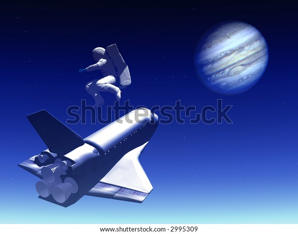 A conceptual image of spacecraft  and astronaut flying towards Jupiter.