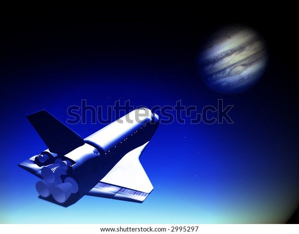 A conceptual image of spacecraft flying towards Jupiter.