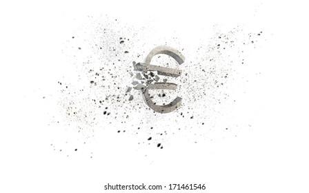 Conceptual image with stone broken euro sign