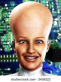 An conceptual image of a women who is very clever, we can tell this by the big head with an added circuitbored effect.