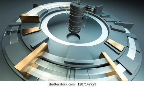 Conceptual industry, technology and science composition. Abstract machinery background. 3D rendering.
