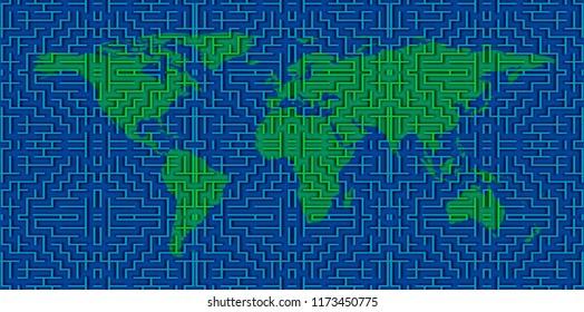 Conceptual labyrinth image of close up green maze world map