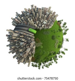 conceptual miniature planet for environmental change and green energy transportation isolated and with clipping path