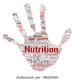 Conceptual nutrition health diet hand print stamp word cloud isolated background. Collage of carbohydrates, vitamins, fat, weight, energy, antioxidants beauty mineral, protein medicine concept
