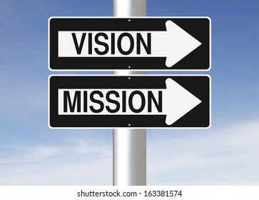Conceptual one way street signs on a pole indicating Vision and Mission