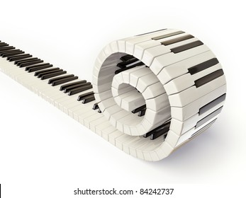 conceptual piano keys isolated on white