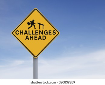 A conceptual road sign on challenges or obstacles. (Silhouette terms and conditions allow for commercial usage.)
