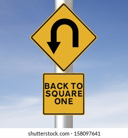 Conceptual road signs indicating a u-turn symbol and Back to Square One