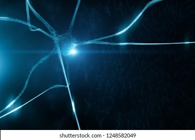 Conceptual shiny blue colored neuron cell in the brain on black cyber space illustration background.