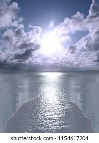 Conceptual sunset or sunrise at sea or ocean horizon. 3D rendering