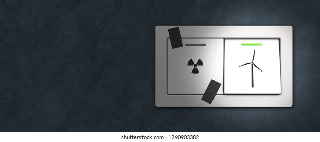 conceptual symbolic 3D rendering concerning transition form nuclear to renewable engery