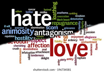 Conceptual tag cloud containing words related to hate and animosity opposed to love, caring, adulation, affection, devotion, passion and zeal.