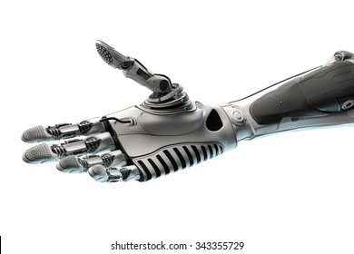 Conceptual Technology Design. Robotic Arm Ready to give handshake. Closeup Image of a part of mech. Template Isolated on white background.