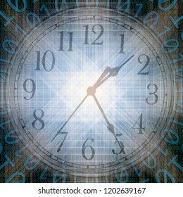 conceptual technology and time image of binary code with clock and abstract lights
