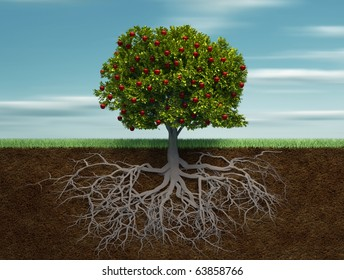 Conceptual tree with apple and root - this is a 3d render illustration