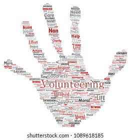 Conceptual volunteering, charity, humanitarian hand print stamp word cloud isolated background. Collage of selfless, support, philanthropy, nonprofit,  goodness, togetherness, giving concept