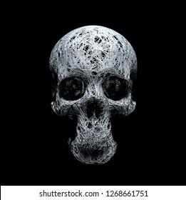 conceptual wire frame in form of human skull model, three-dimensional realistic plexus. 3D Illustration