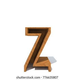 Conceptual wood or wooden brown font or type, timber or lumber industry piece isolated on white background. Educative hadwood material, smooth surface pine handmade sculpted object as 3D illustration