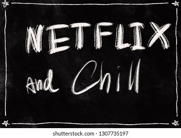 conceptual word on blackboard style background - NETFLIX and Chill
