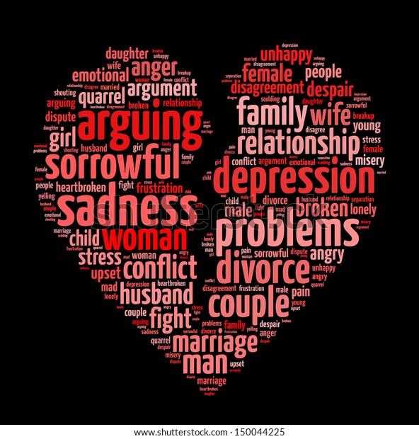 Conceptual Words Illustration Divorce Failed Relationship