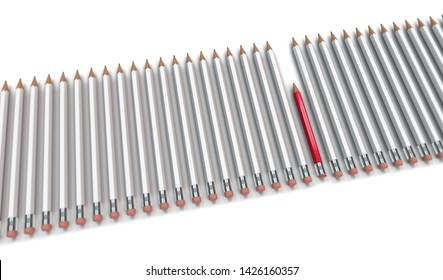 conceptual work or business image with salient red pencil as symbol for diligence in a row of lazy pencils