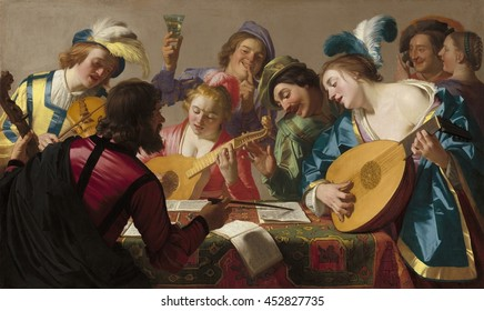 The Concert, by Gerrit van Honthorst, 1623, Dutch painting, oil on canvas. The influence of Caravaggio is strong in this genre scene of musicians and singers. The dramatic gestures, pronounced light/