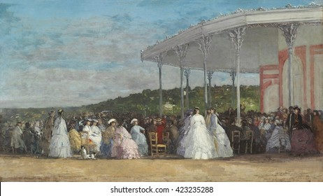 Concert at the Casino of Deauville, by Eugene Boudin, 1865, French impressionist painting, oil on canvas. The railroad from Paris to Deauville brought the tourists, and they found amusement at the hi
