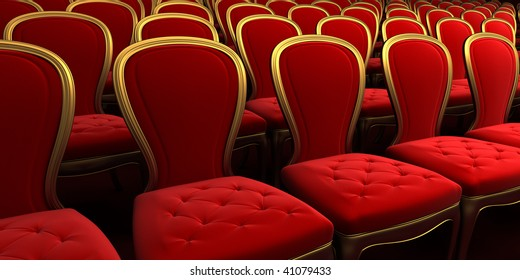 concert hall with red seat 3d rendering