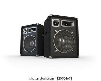 Concert speaker on white background. Computer generated image.