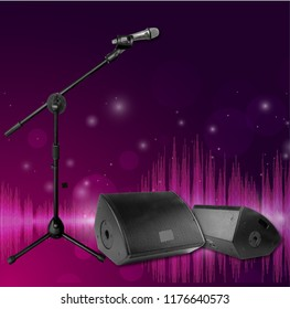 Concert stage equipped with two big audio speakers and a microphone with stand on the stage,Bokeh background, 3D illustration