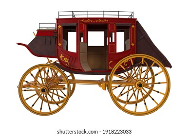 Concord Stagecoach 3D illustration on white background